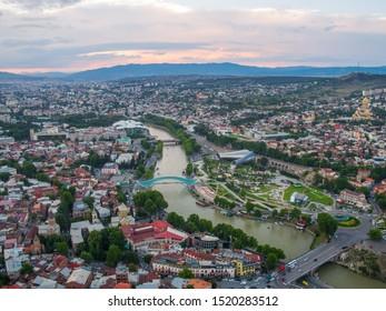 Tbilisi, Georgia - June 2018: city at sunset, aerial view
