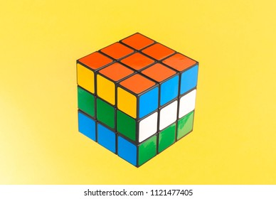 Tbilisi, Georgia. June 27, 2018. Rubic's cube on a colorful background,