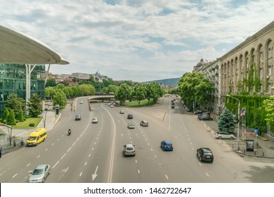 Tbilisi, Georgia - June 28, 2019: view of the roadway with cars from above, street near the house of justice