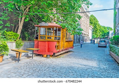 TBILISI, GEORGIA - JUNE 5, 2016: The old tram konka (horse-car), converted into the bar and located in Sioni street of the Kalaubani (Kala district) in downtown, on June 5 in Tbilisi.