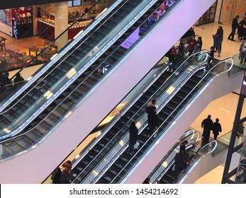 TBILISI, GEORGIA - March 16, 2019: Modern interior of the shopping mall Galleria in Tbilisi, Georgia. View of the escalator.
