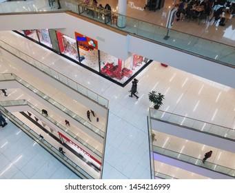 TBILISI, GEORGIA - March 16, 2019: Modern interior of the shopping mall Galleria in Tbilisi, Georgia.