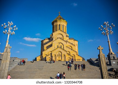TBILISI, GEORGIA - March 2015: Holy Trinity Cathedral of Tbilisi (Tsminda Sameba Cathedral), Georgia