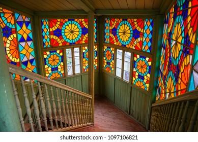 TBILISI / GEORGIA - MARCH 30, 2018: Old wooden house of Tbilisi, Georgia