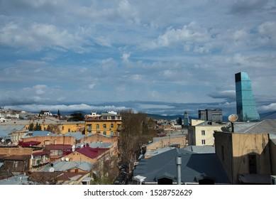 TBILISI / GEORGIA - MARCH 30, 2018: Aerial view of old Tbilisi city, Georgia