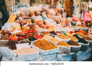 Tbilisi, Georgia. Market Bazar Abundant Counter Of Dried Fruit And Jars Of Honey On Sale.