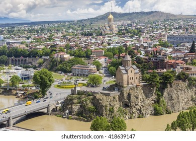 TBILISI, GEORGIA - MAY 07, 2016: Tbilisi city center aerial view from Narikala Fortress, Georgia