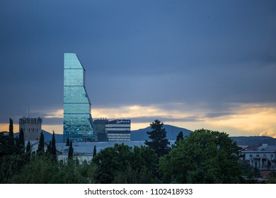 Tbilisi, Georgia - May 09, 2018: 7-Star Biltmore Millennium Hotel, 5-star Radisson Blu Iveria Hotel are the most modern and luxurious buildings in downtown Tbilisi.