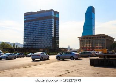 Tbilisi, Georgia - May 1, 2018: Radisson Blu Iveria Hotel on Rose Revolution Square in Tbilisi, Georgia
