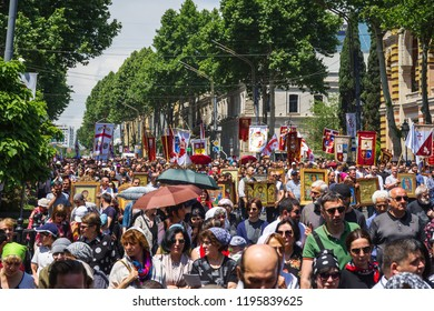 TBILISI, GEORGIA - MAY 17, 2018: Family day. People attend a rally marking the Day of Family Purity and opposing the International Day Against Homophobia and Transphobia in Tbilisi on May 17, 2018.
