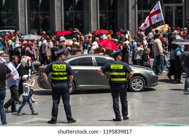 TBILISI, GEORGIA - MAY 17, 2018: Georgian policemen during the protests against demonstration for the Day of Family Purity and opposing the International Day Against Homophobia and Transphobia.