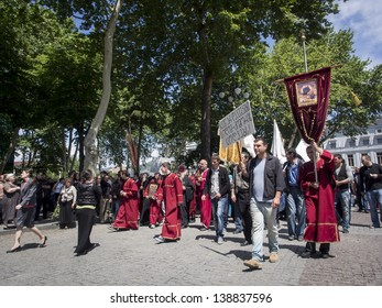 TBILISI, GEORGIA - MAY 17: Procession organized by the Church Congregation and Ecclesiastics in protest against the May 17 demonstration for the International Day Against Homophobia on May 17, 2013.