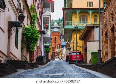 TBILISI, GEORGIA - MAY 18: Botanikuri (Botanical) Street in the Old Town of Tbilisi on May 18, 2016 in Tbilisi, Georgia. There can be seen Tbilisi Mosque in the end of street.