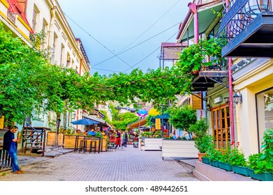TBILISI, GEORGIA - MAY 28, 2016: The cozy street, full of cafes and bars, decorated with the wild vines, stretching across the path, on May 28 in Tbilisi.