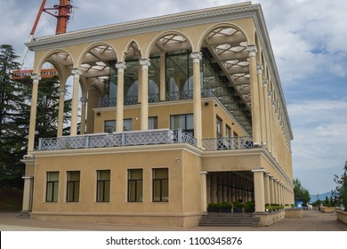Tbilisi, Georgia - May 28 2018: Tbilisi Funicular upper station building with cafe, restaurants and bars. City main sightseeing and tourism place in Mtazminda Park of amusements.