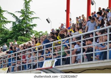 Tbilisi / Georgia - May 6 2018; Avchala Rugby Stadium, Georgian Rugby Premiership 2017-18, BIG 10, Preliminary Final; Locomotive RC (Tbilisi) vs Jiqi RC (Gori); The fans;
