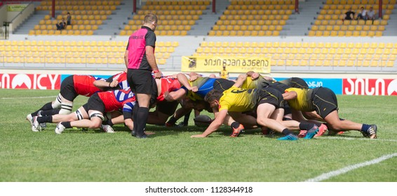Tbilisi / Georgia - May 6 2018; Avchala Rugby Stadium, Georgian Rugby Premiership 2017-18, BIG 10, Preliminary Final; Locomotive RC (Tbilisi) vs Jiqi RC (Gori);