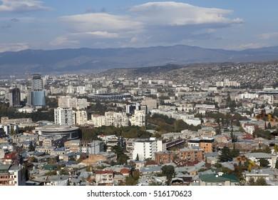 TBILISI, GEORGIA - November 04, 2016 : Tbilisi city center aerial view from the mountain Mtazminda, Tbilisi Georgia