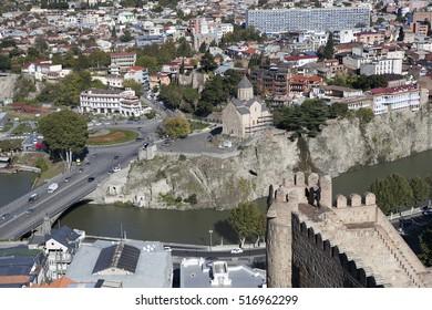 TBILISI, GEORGIA - November 04, 2016 : Tbilisi city center aerial view from Narikala Fortress, Georgia