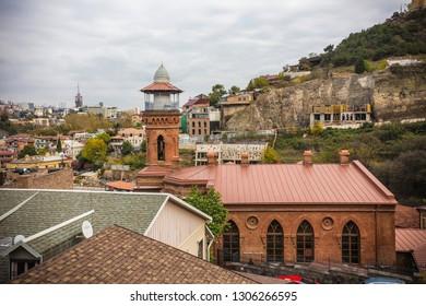 TBILISI, GEORGIA - November 2018: Old Tbilisi cityscape, mosque minaret, Juma Mosque in Old Tbilisi, Georgia