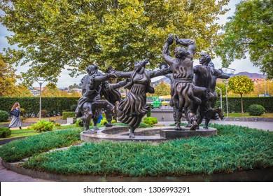 TBILISI, GEORGIA  - November 2018: Statue of Berikaoba folk dancers in Tbilisi, Georgia