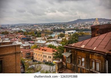 TBILISI, GEORGIA - November 2018: View of old Tbilisi from Narikala Fortes in Tbilisi, Georgia