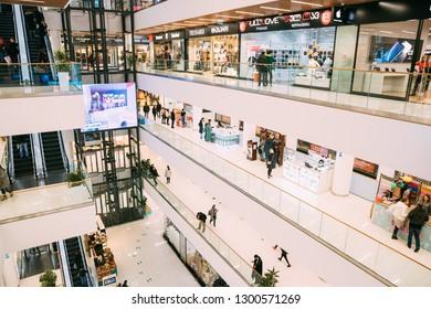 Tbilisi, Georgia - November 22, 2018: People Visiting Galleria Tbilisi Shopping Mall.