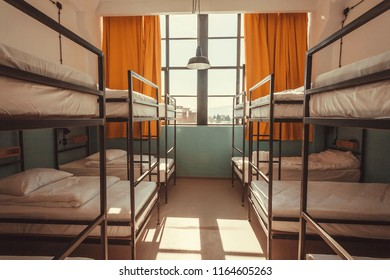 TBILISI, GEORGIA - OCT 9: Window in bedroom of a youth hostel with clean beds for relaxing tourists and students on 9 October, 2017. The annual number of tourists in Georgia reached 2,300,000 people