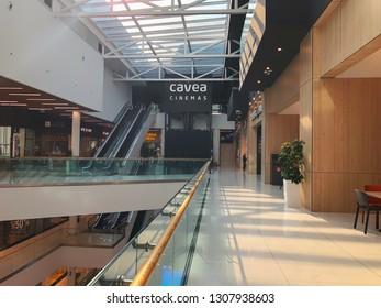 "TBILISI, GEORGIA - October 11, 2018: Cinema Cavea and cafe at the modern shopping mall ""Galleria"" in Tbilisi, Georgia."