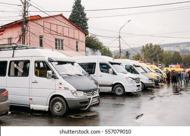Tbilisi, Georgia - October 24, 2016: Urban taxis Minibuses are on the station Didube in Tbilisi, Georgia.