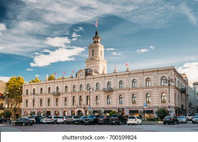 Tbilisi, Georgia - October 29, 2016: Tbilisi City Hall In Freedom Square In City Center. Clock-towered Edifice. It Houses The Mayors Office And The City Assembly.