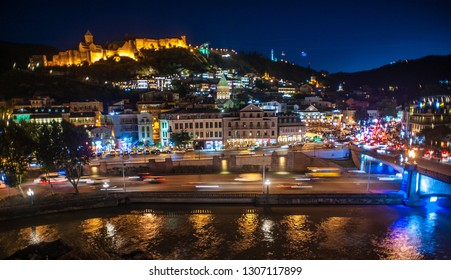 Tbilisi, Georgia. The Old Town comes to life at night. The Narikala Fortress has been looking down on Tbilisi in one form or another since the 4th century.