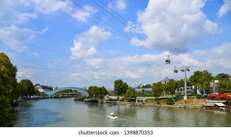 Tbilisi, Georgia - Sep 22, 2018. Kura River of Tbilisi, Georgia. The Kura is an east-flowing river south of the Greater Caucasus Mountains.