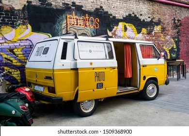 Tbilisi, Georgia — September 18, 2019: Retro Volkswagen minibus converted into a photo booth at a hipster fashion market. Lifestyle Concept