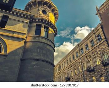 TBILISI, GEORGIA - SEPTEMBER 20, 2018: View of old bildings of the Tbilisi town, D.Agmashenebeli st. The Capital of Georgia.