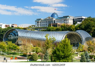 Tbilisi, Georgia - September 27, 2016: View of Presidential Palace of Georgia and Concert Music Theatre Exhibition Hall in Rike park