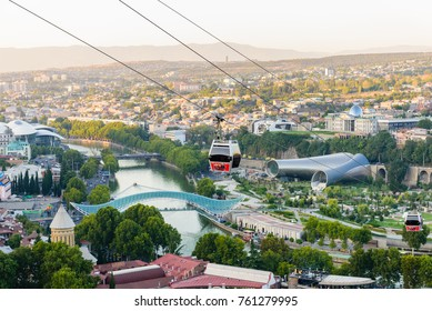 Tbilisi, Georgia - September 9, 2017: beautiful aerial view of the Central part of Tbilisi with a cabin of cable car