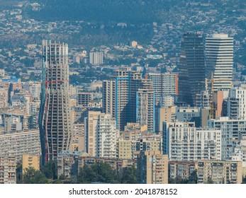 Tbilisi, Georgia. urban cityskape. aerial city view