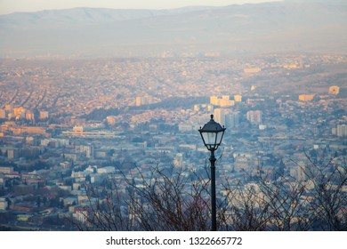 Tbilisi Historic Old Town Houses Panorama View Georgia capital with black city light and trees
