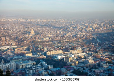 Tbilisi Historic Old Town Houses Panorama View Geargia capital with evening sunset light
