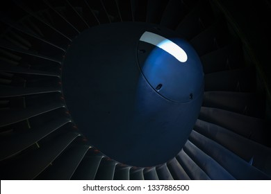 Tbilisi International Airport, Tbilisi / Georgia - 27 February 2019:  Airbus A330-223 aircraft's  PW4168A engine's spinner and fan blades. Illuminated, macro shot