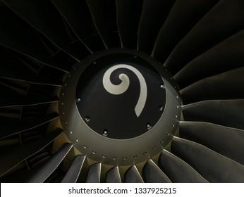 Tbilisi International Airport, Tbilisi / Georgia - 27 February 2019: Boeing 737-800 Next Generation aircraft's CFM56-7B engine's spinner and fan blades. Illuminated, macro shot