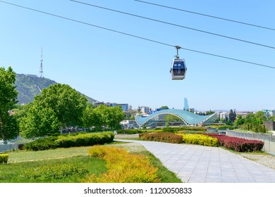 TBILISI - MAY 3: Cable car on the top of Sololaki hill on 3 May 2018 in Tbilisi, Georgia.