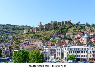TBILISI - MAY 3: View of Narikala Fortress and Tbilisi old town on 3 May 2018 in Tbilisi, Georgia.