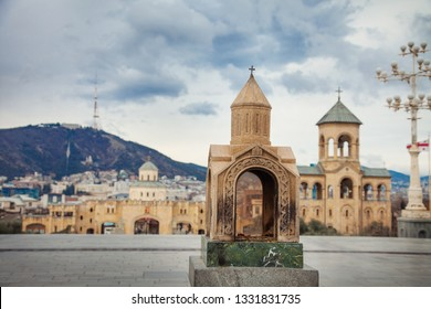 Tbilisi Saint Trinity Sameba Cathedral with small copy New Georgian Architecture Church cloud day view