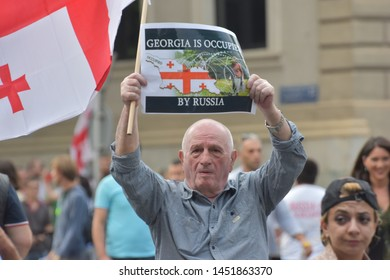Tbilisi/Georgia (Country), 2019 June 29th: Anti Russian March and Demonstrations in the Capital of Georgia, Tbilisi
