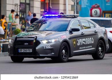 Tbilisi/Georgia June 11, 2017 Georgian police's patrol car Ford Taurus Police Interceptor.