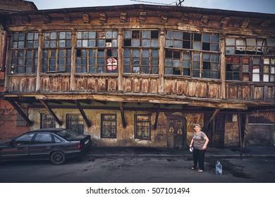 TBILISI/GEORGIA - JUNE 15, 2016: Old rickety house at the Avlabari district in Tbilisi, Georgia