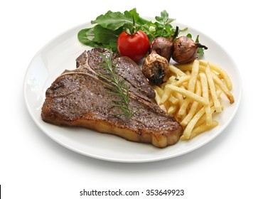 t-bone steak,porterhouse steak,bistecca alla fiorentina isolated on white background