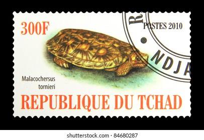 TCHAD - CIRCA 2010: A stamp printed in Tchad showing Pancake Tortoise, circa 2010